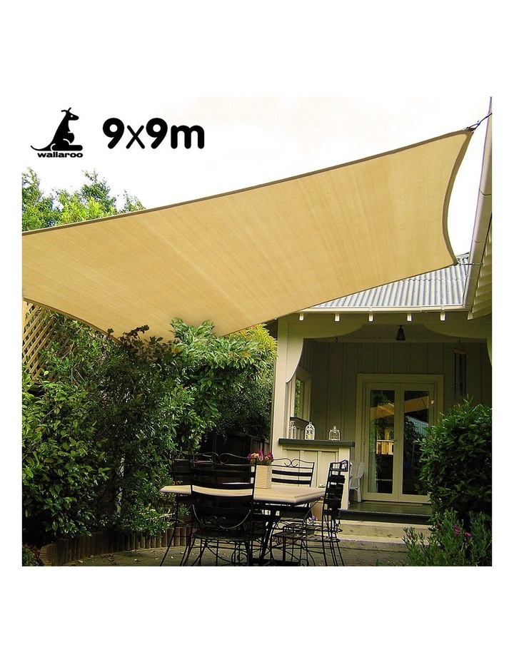 Large 9m X 9m Outdoor Sun Shade Sail Canopy - Sand Cloth Square 9x9 image 2