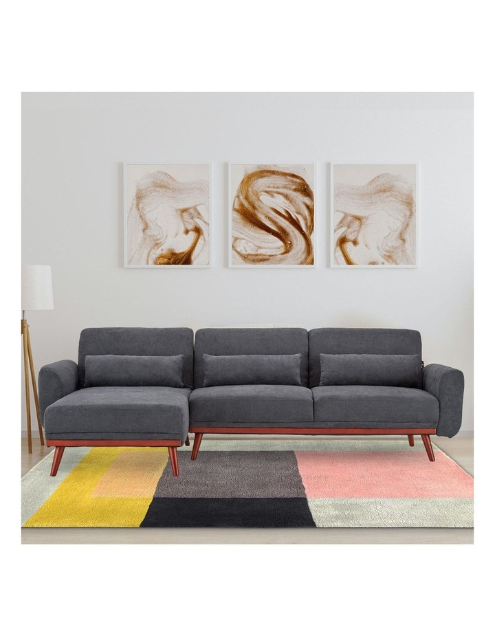 Corner Sofa Bed Faux Velvet Lounge Couch L-shaped Modular Chaise Grey image 2