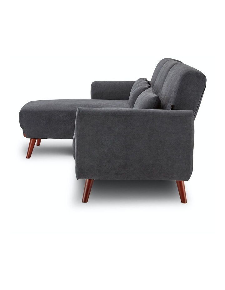 Corner Sofa Bed Faux Velvet Lounge Couch L-shaped Modular Chaise Grey image 4