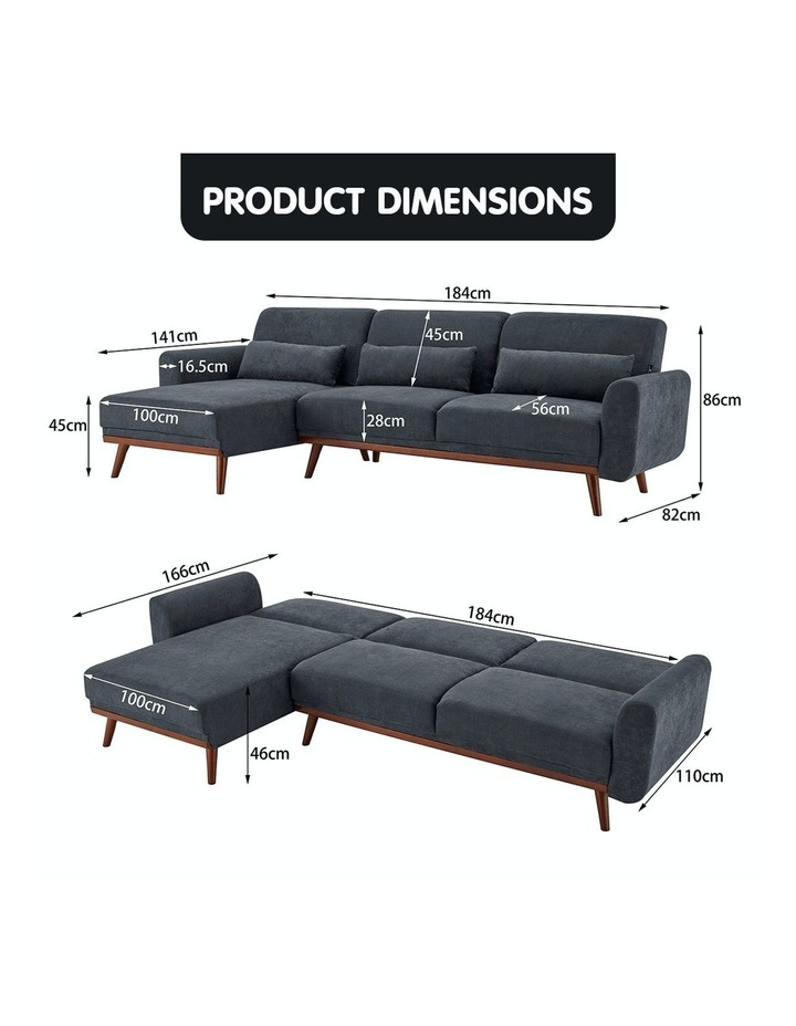 Corner Sofa Bed Faux Velvet Lounge Couch L-shaped Modular Chaise Grey image 6