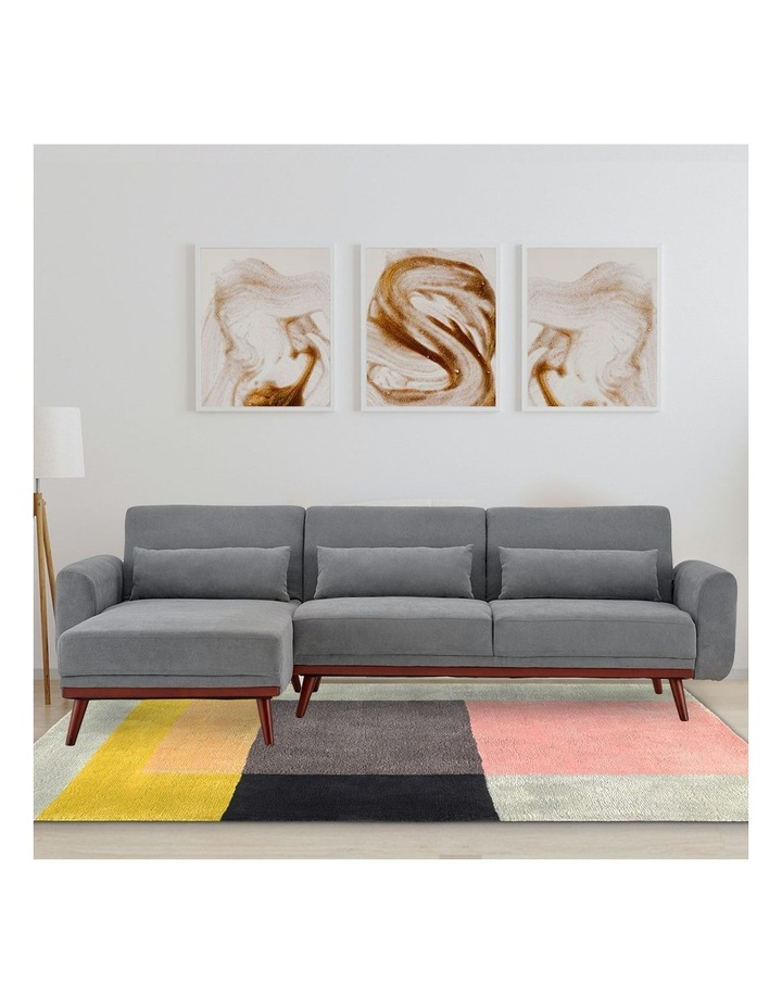 Corner Sofa Bed Faux Velvet Lounge Couch Modular Chaise Light Grey image 2