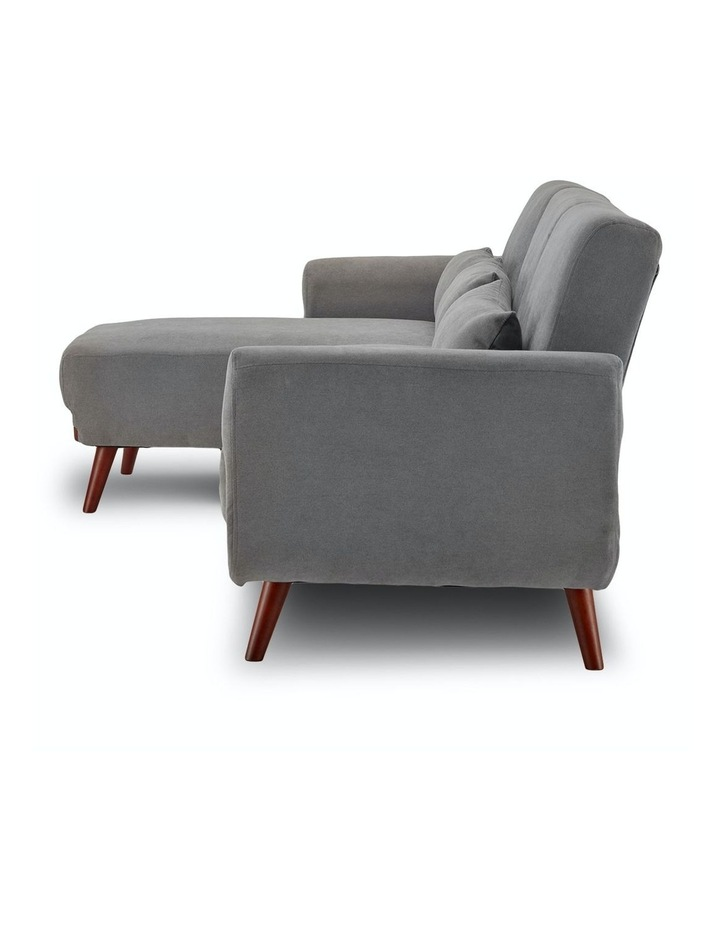Corner Sofa Bed Faux Velvet Lounge Couch Modular Chaise Light Grey image 4