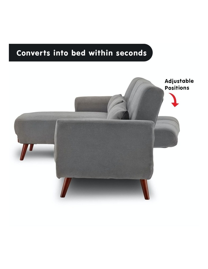 Corner Sofa Bed Faux Velvet Lounge Couch Modular Chaise Light Grey image 7