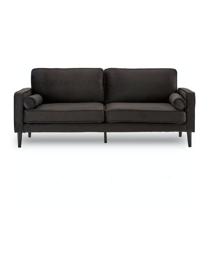 Faux Velvet Sofa Bed Couch Furniture Lounge Suite Futon Adjustable Black image 1