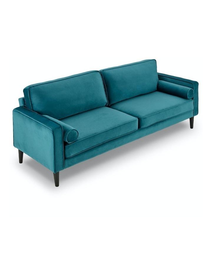 Faux Velvet Sofa Bed Couch Furniture Lounge Suite Futon Adjustable Blue image 2