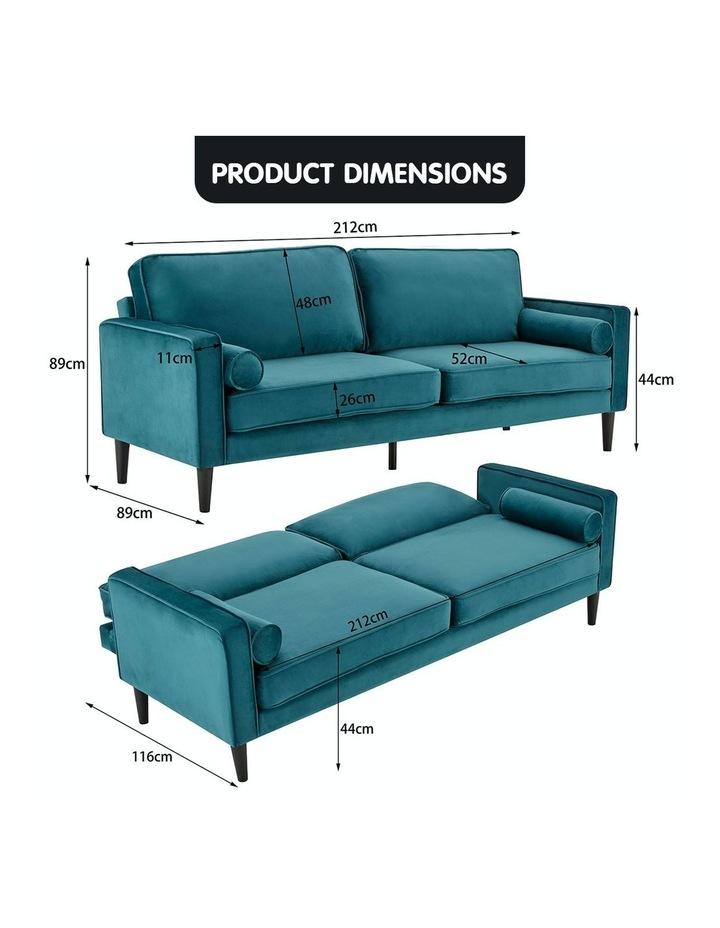 Faux Velvet Sofa Bed Couch Furniture Lounge Suite Futon Adjustable Blue image 6
