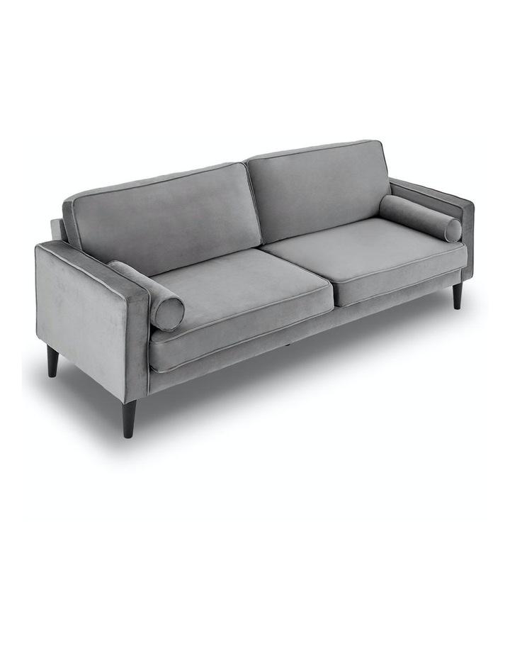 Faux Velvet Sofa Bed Couch Furniture Lounge Suite Futon Adjustable Grey image 2