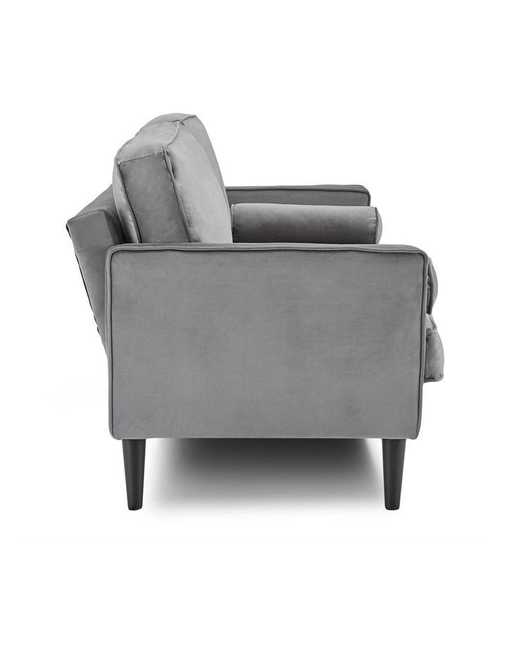 Faux Velvet Sofa Bed Couch Furniture Lounge Suite Futon Adjustable Grey image 3