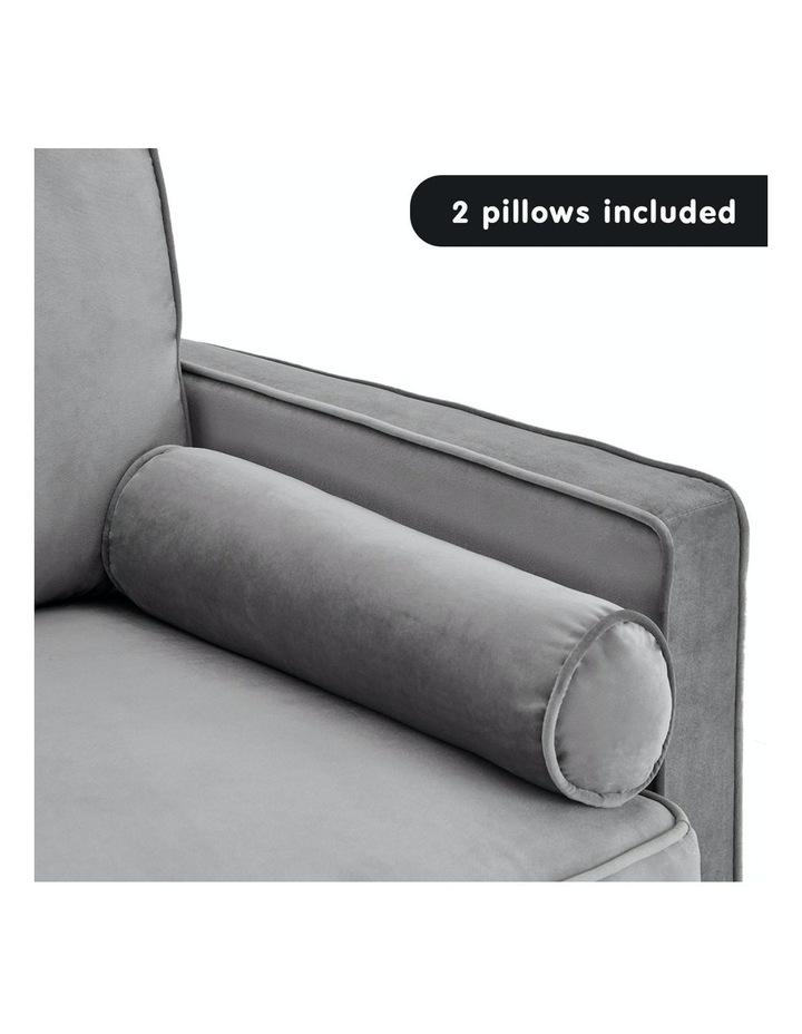 Faux Velvet Sofa Bed Couch Furniture Lounge Suite Futon Adjustable Grey image 7