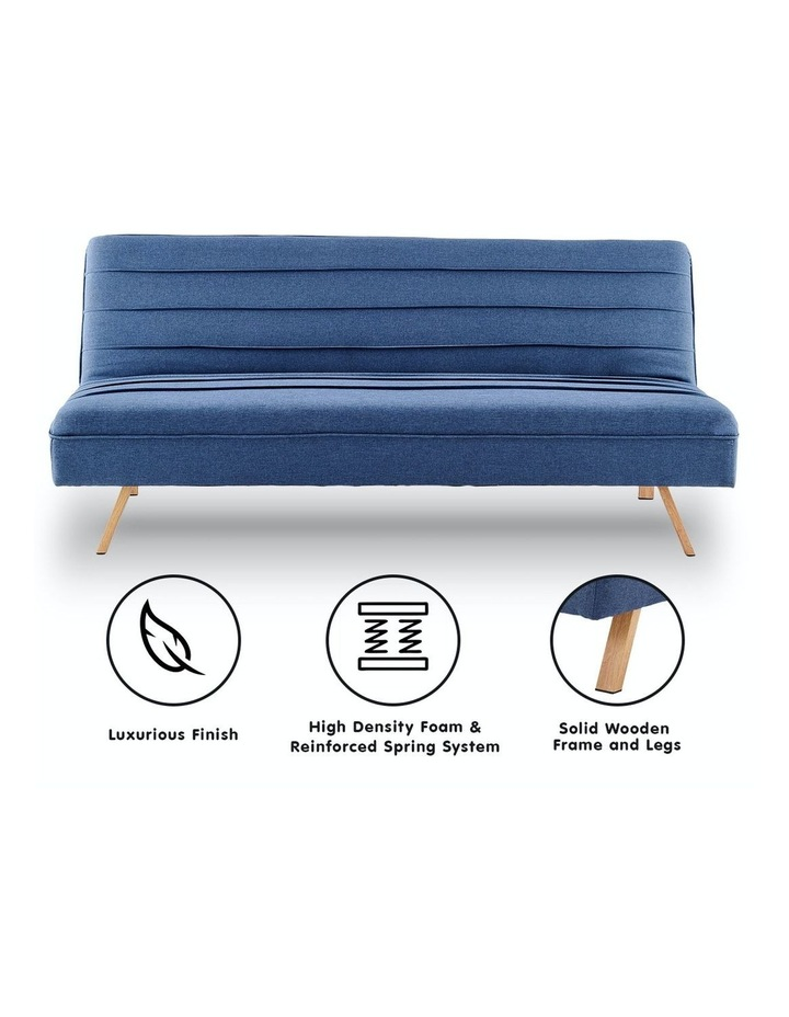 3 Seater Sofa Bed Lounge Couch Modular Furniture Home Linen Fabric Dark Blue image 2