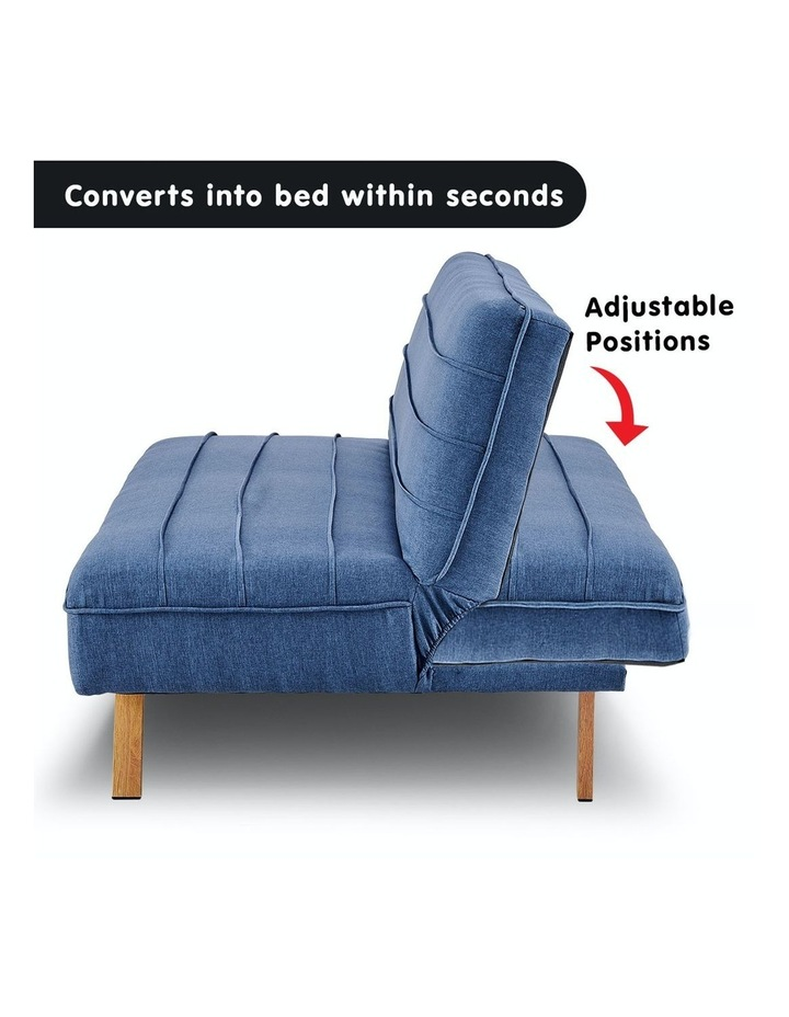 3 Seater Sofa Bed Lounge Couch Modular Furniture Home Linen Fabric Dark Blue image 3
