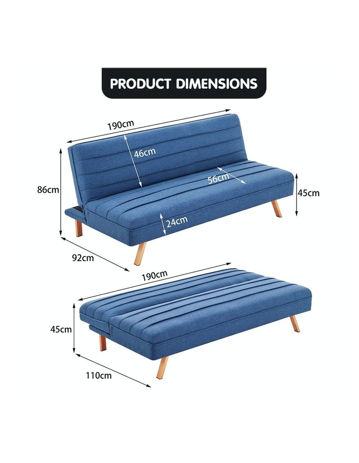 3 Seater Sofa Bed Lounge Couch Modular Furniture Home Linen Fabric Dark Blue image 7