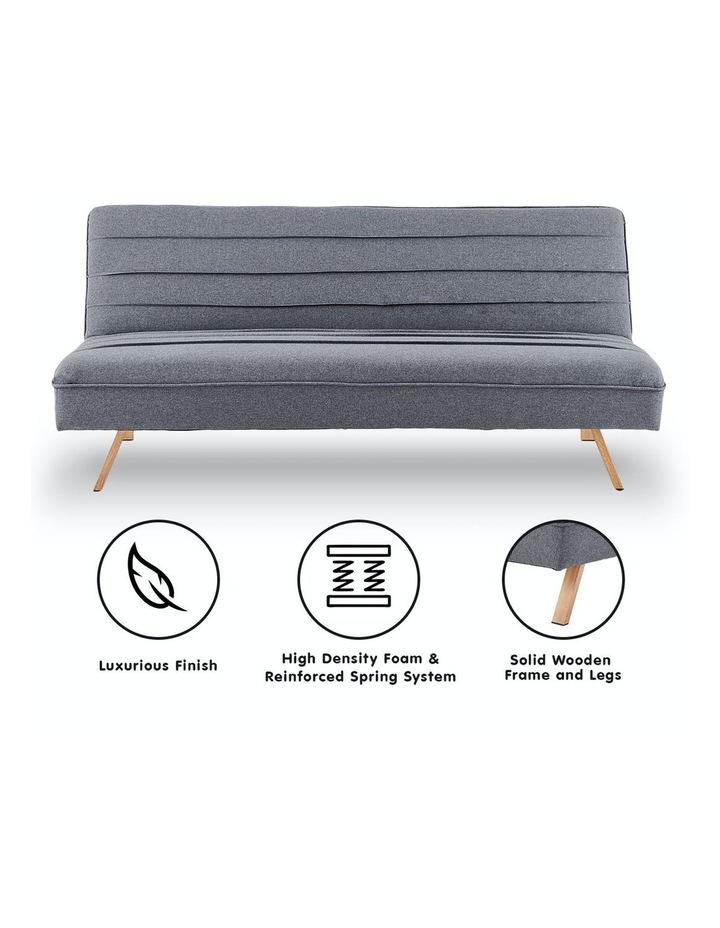 3 Seater Sofa Bed Lounge Couch Modular Furniture Home Linen Fabric Dark Grey image 2