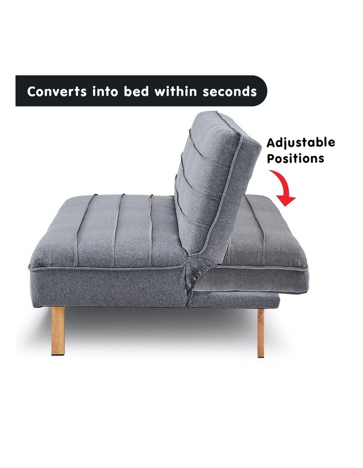 3 Seater Sofa Bed Lounge Couch Modular Furniture Home Linen Fabric Dark Grey image 3