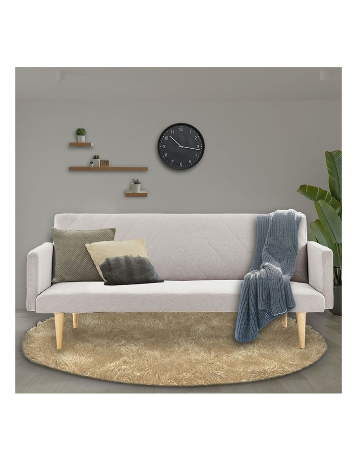 3 Seater Sofa Bed Lounge Couch Modular Furniture Home Linen Fabric Beige image 2