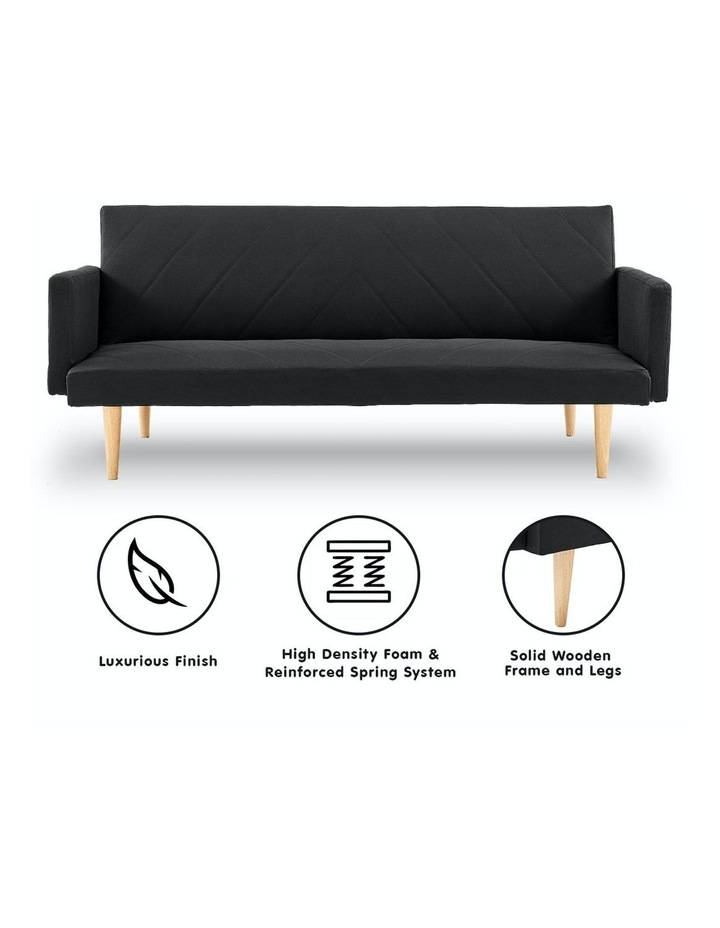 3 Seater Sofa Bed Lounge Couch Modular Furniture Home Linen Fabric Black image 2