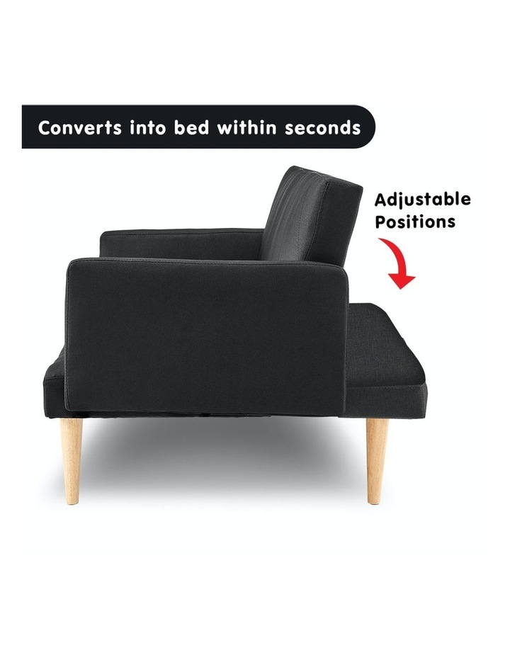 3 Seater Sofa Bed Lounge Couch Modular Furniture Home Linen Fabric Black image 3
