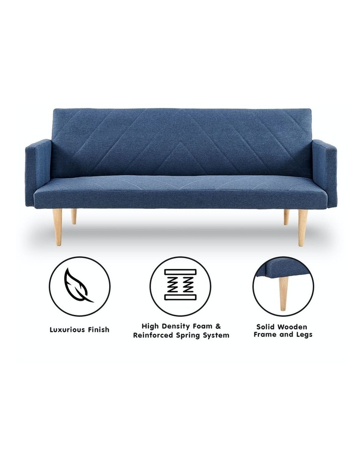 3 Seater Sofa Bed Lounge Couch Modular Furniture Home Linen Fabric Blue image 2