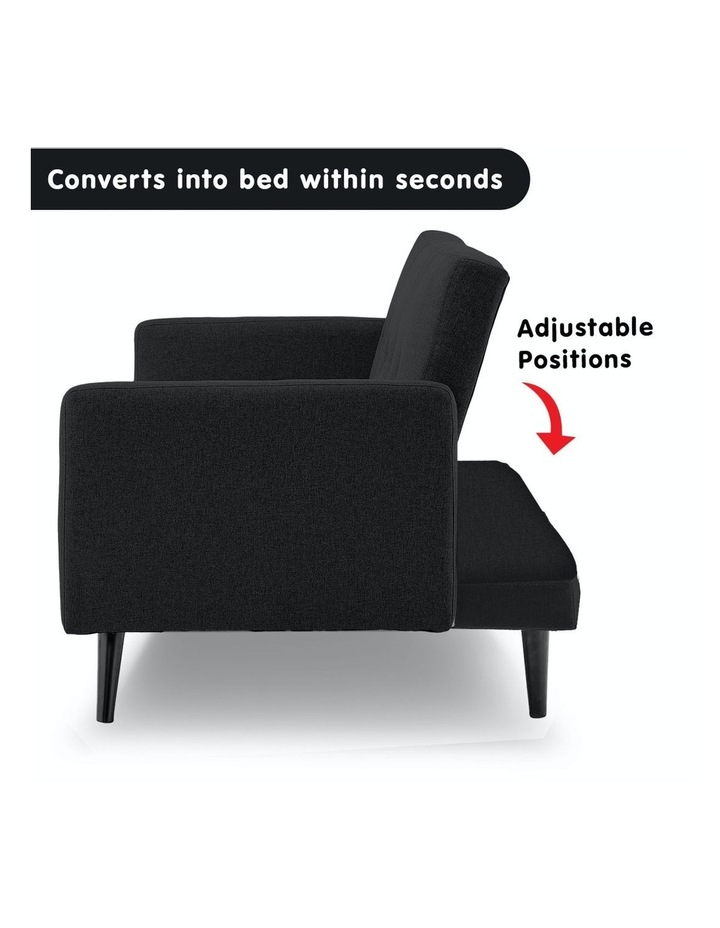 3 Seater Sofa Bed Lounge Futon Couch Modular Furniture Home Linen Fabric Black image 3