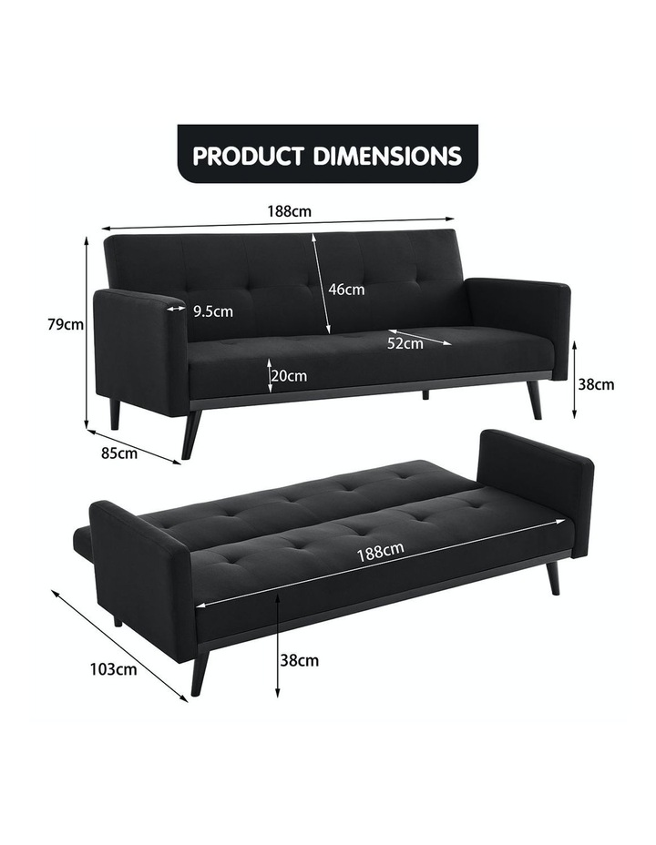 3 Seater Sofa Bed Lounge Futon Couch Modular Furniture Home Linen Fabric Black image 6