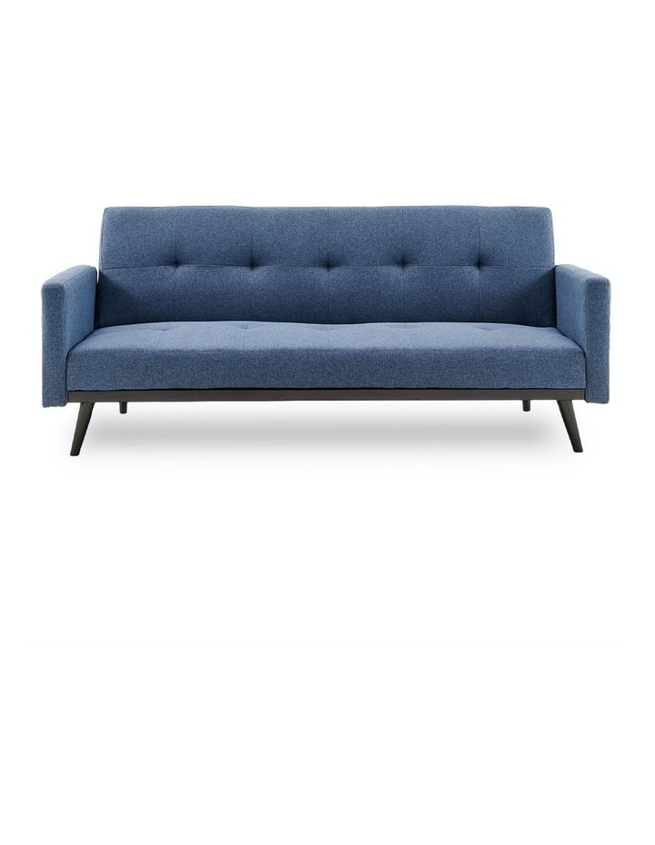 3 Seater Sofa Bed Lounge Futon Couch Modular Furniture Home Linen Fabric Blue image 1