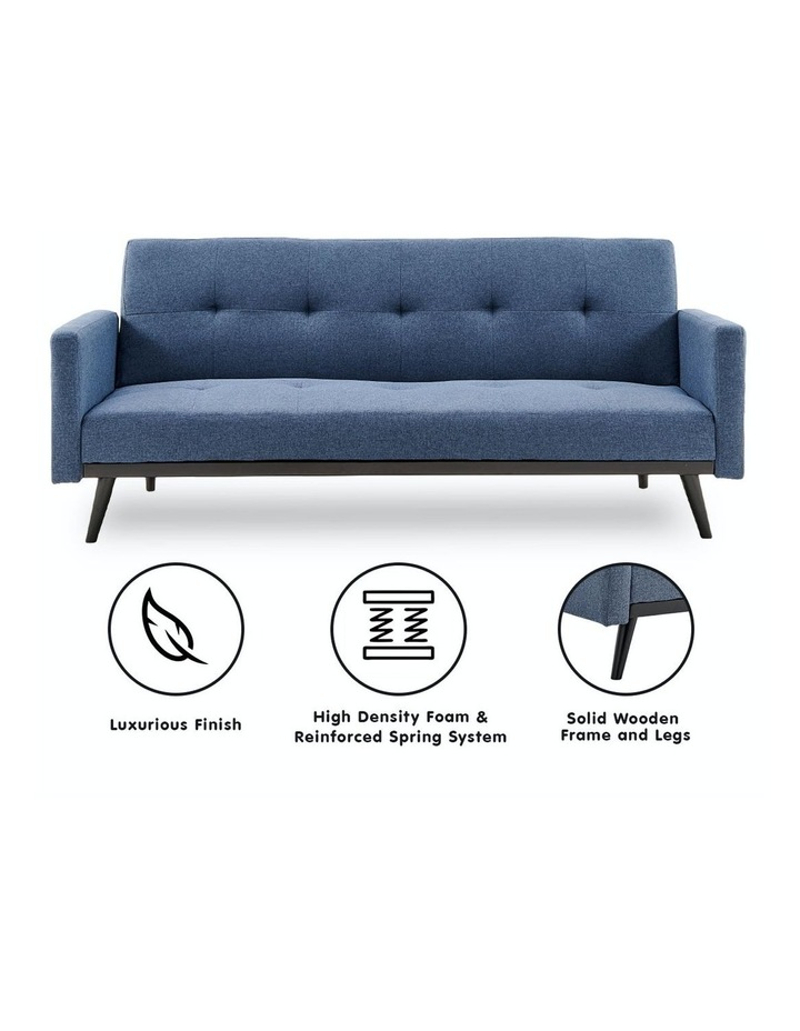 3 Seater Sofa Bed Lounge Futon Couch Modular Furniture Home Linen Fabric Blue image 2