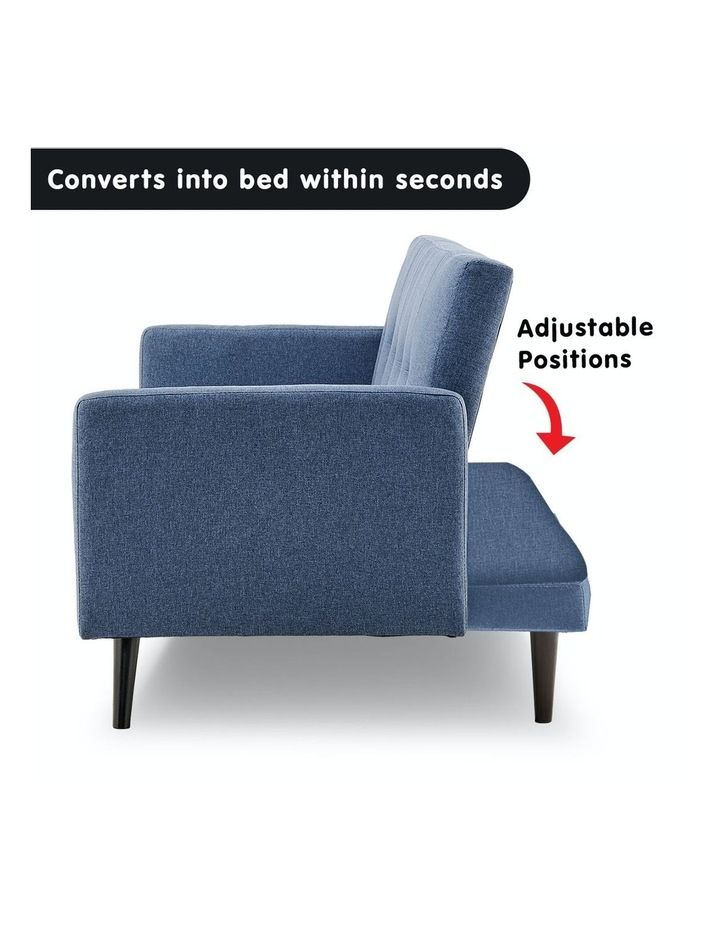 3 Seater Sofa Bed Lounge Futon Couch Modular Furniture Home Linen Fabric Blue image 3