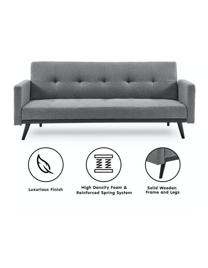 3 Seater Sofa Bed Lounge Futon Couch Modular Furniture Home Linen Fabric Light Grey image 2