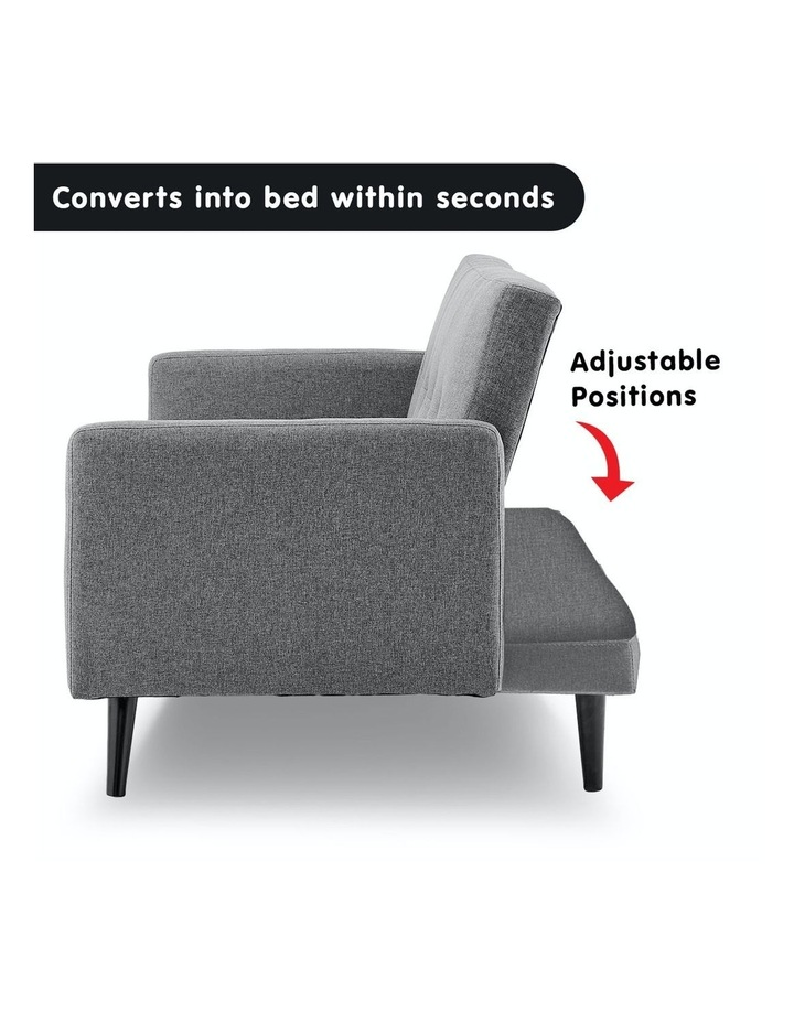 3 Seater Sofa Bed Lounge Futon Couch Modular Furniture Home Linen Fabric Light Grey image 3