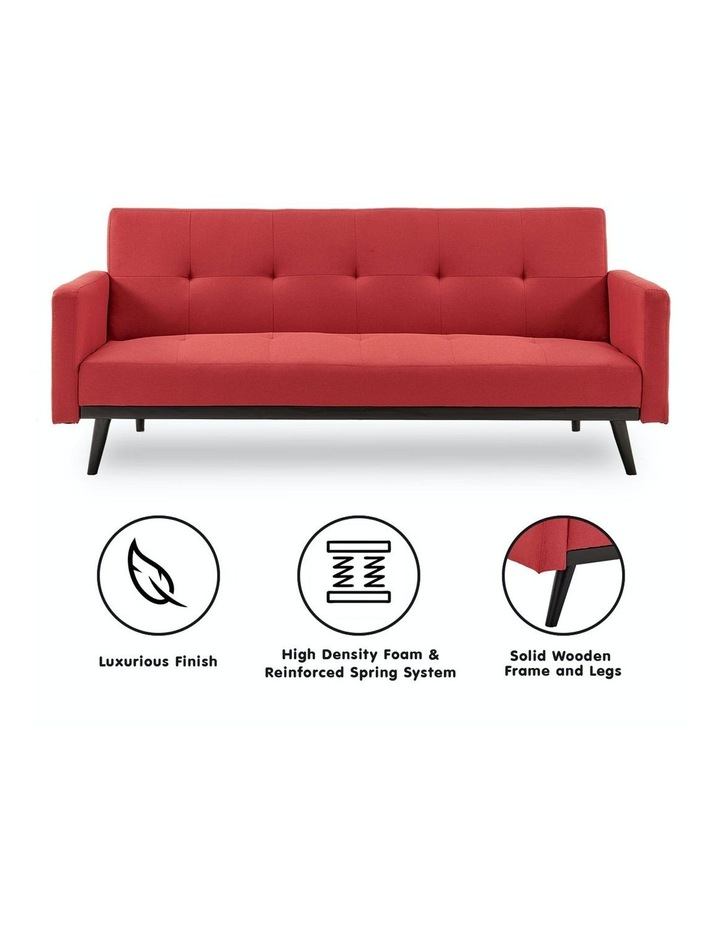 3 Seater Sofa Bed Lounge Futon Couch Modular Furniture Home Linen Fabric Red image 2