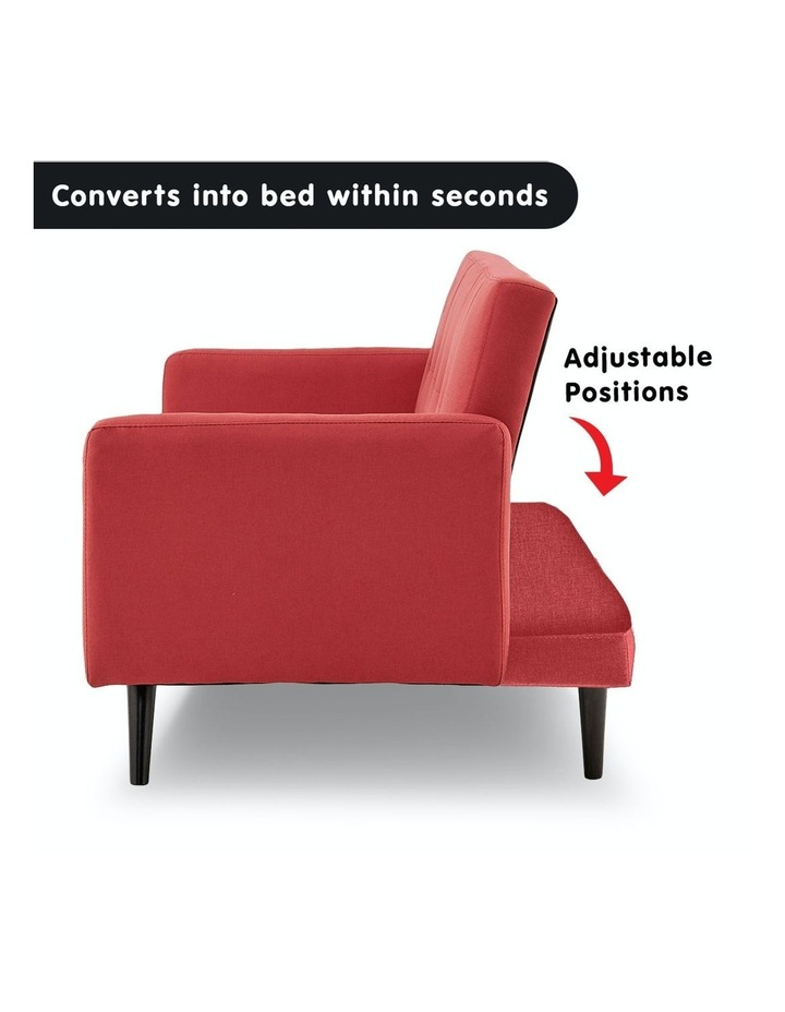 3 Seater Sofa Bed Lounge Futon Couch Modular Furniture Home Linen Fabric Red image 3