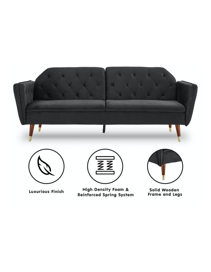 3 Seater Sofa Bed Lounge Futon Couch Modular Furniture Home Faux Velvet Fabric Black image 2