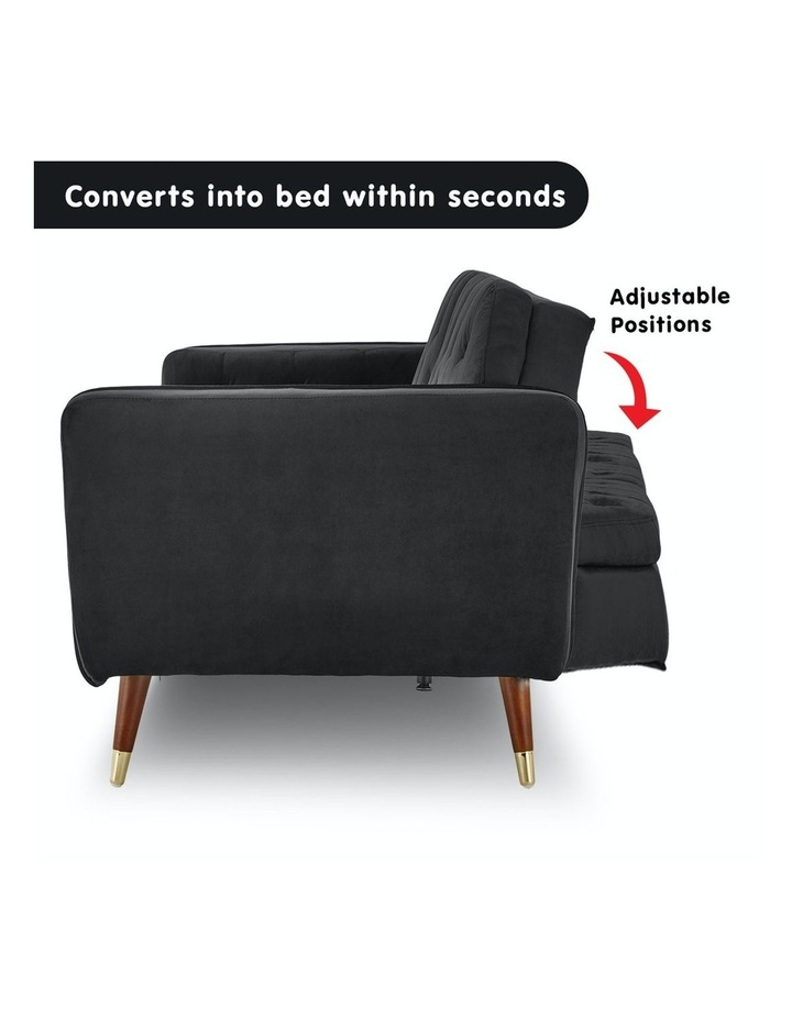 3 Seater Sofa Bed Lounge Futon Couch Modular Furniture Home Faux Velvet Fabric Black image 3