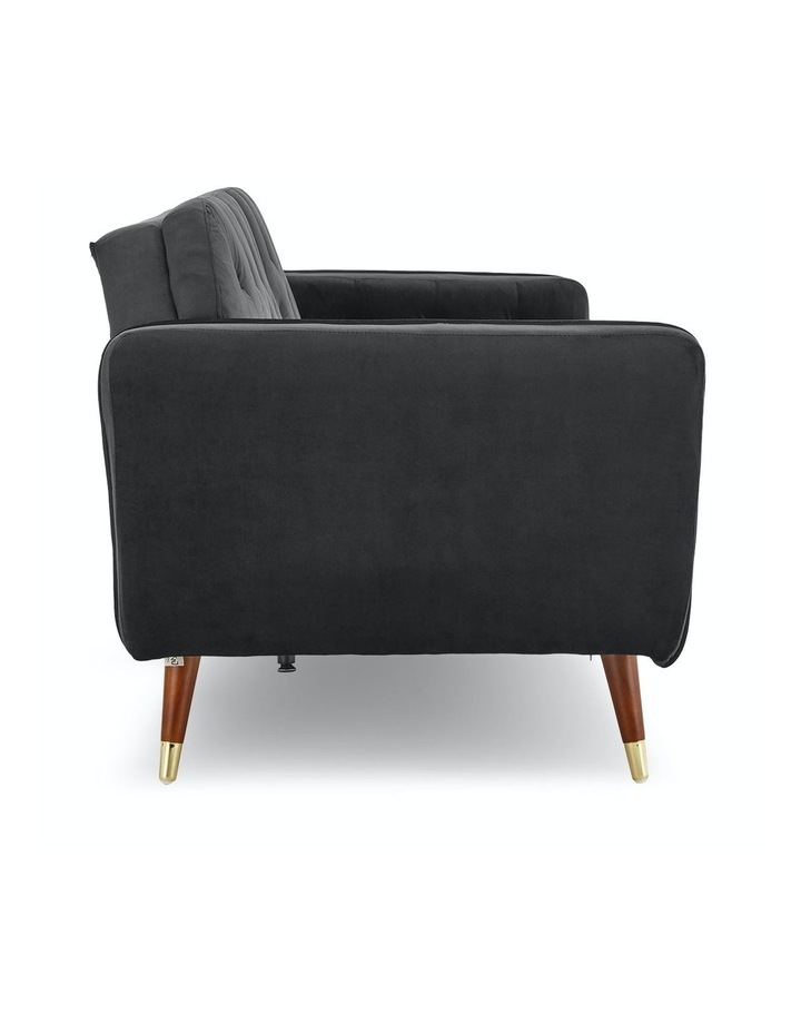 3 Seater Sofa Bed Lounge Futon Couch Modular Furniture Home Faux Velvet Fabric Black image 5