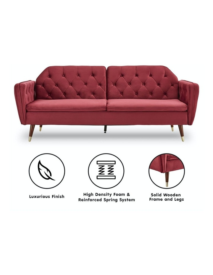 3 Seater Sofa Bed Lounge Futon Couch Modular Furniture Home Faux Velvet Fabric Burgundy image 2