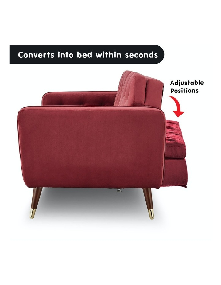 3 Seater Sofa Bed Lounge Futon Couch Modular Furniture Home Faux Velvet Fabric Burgundy image 3