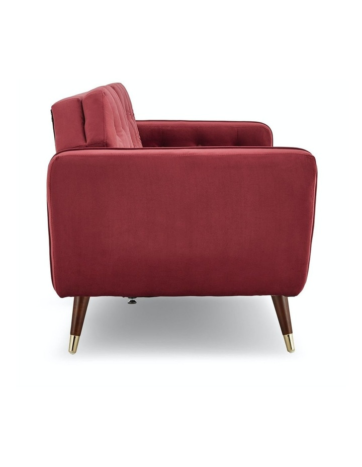 3 Seater Sofa Bed Lounge Futon Couch Modular Furniture Home Faux Velvet Fabric Burgundy image 5
