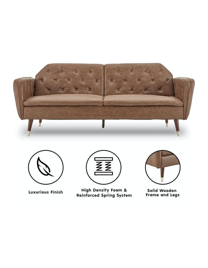 3 Seater Sofa Bed Lounge Futon Couch Modular Furniture Home Faux Velvet Fabric Brown image 2