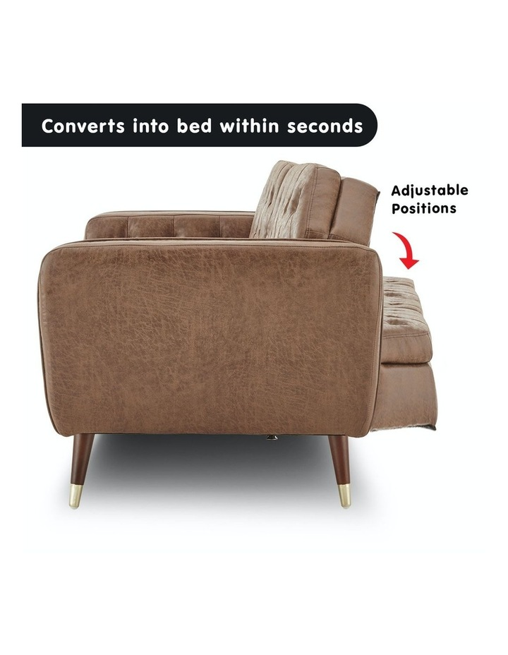 3 Seater Sofa Bed Lounge Futon Couch Modular Furniture Home Faux Velvet Fabric Brown image 3