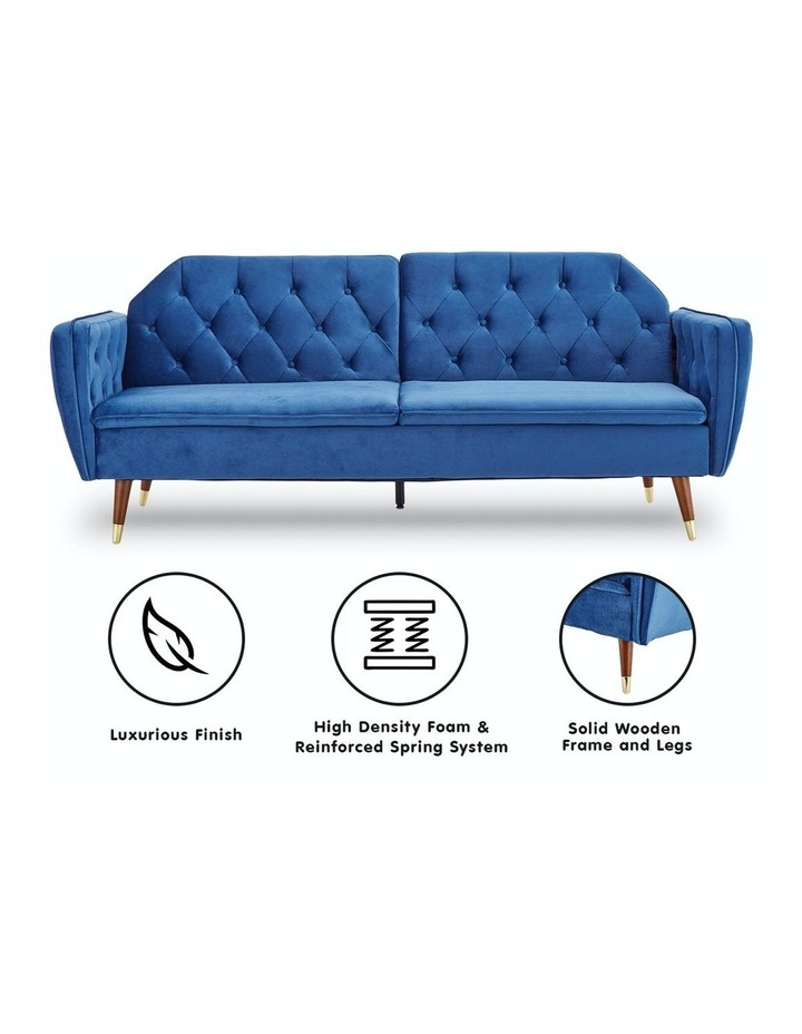3 Seater Sofa Bed Lounge Futon Couch Modular Furniture Home Faux Velvet Fabric Blue image 2