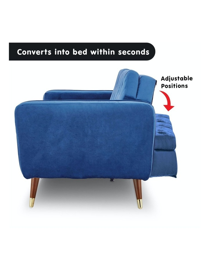 3 Seater Sofa Bed Lounge Futon Couch Modular Furniture Home Faux Velvet Fabric Blue image 3