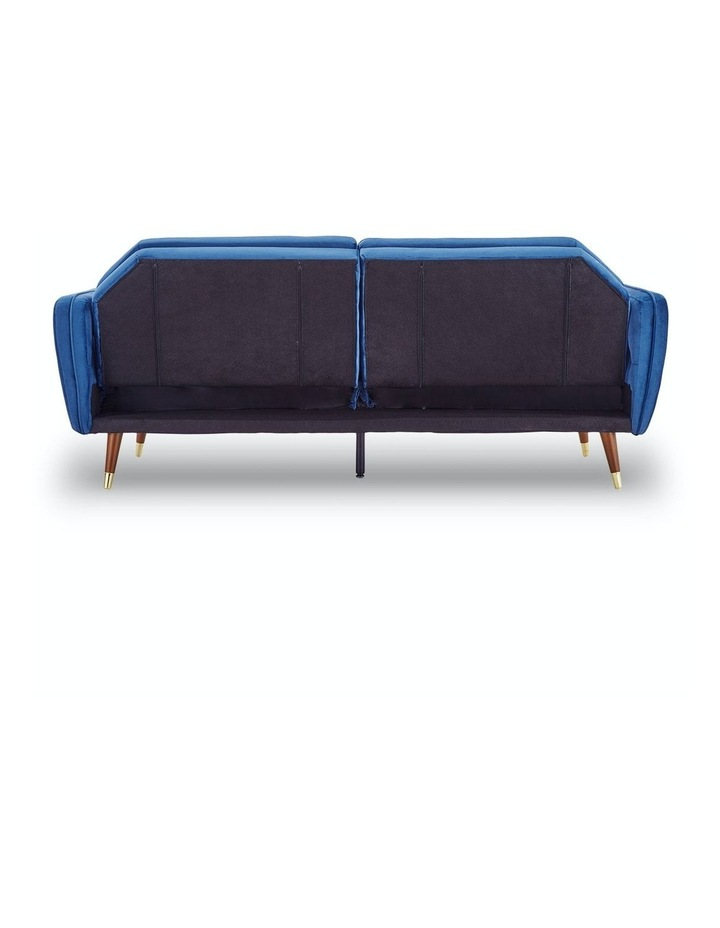 3 Seater Sofa Bed Lounge Futon Couch Modular Furniture Home Faux Velvet Fabric Blue image 6
