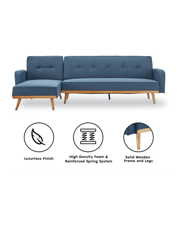 3 Seater Sarantino M2570 Linen Fabric Sofa Bed Lounge Couch Modular Furniture Blue image 2