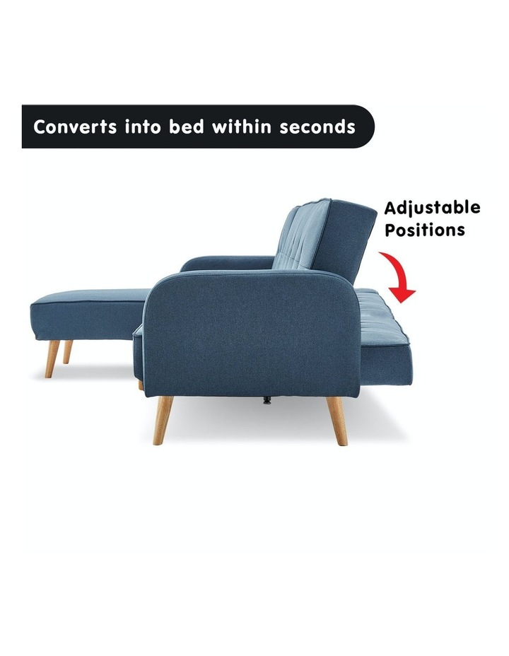 3 Seater Sarantino M2570 Linen Fabric Sofa Bed Lounge Couch Modular Furniture Blue image 3
