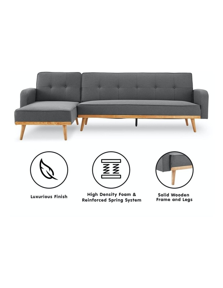 3 Seater Sarantino M2570 Linen Fabric Sofa Bed Lounge Couch Modular Furniture Dark Grey image 2