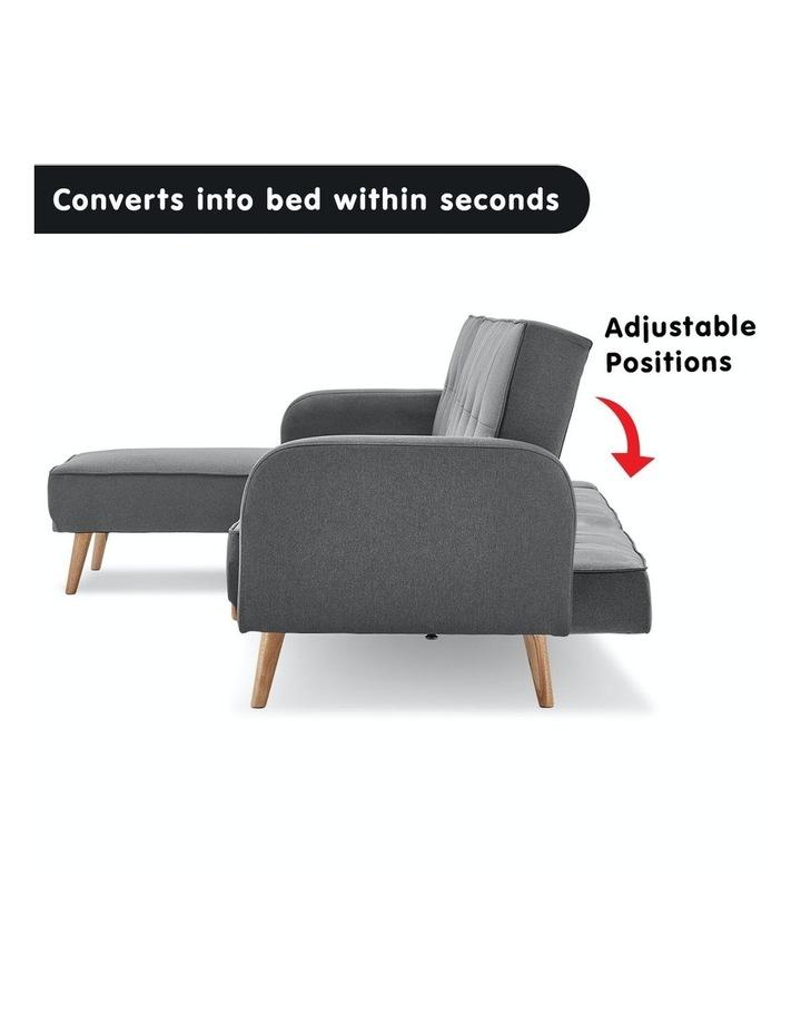 3 Seater Sarantino M2570 Linen Fabric Sofa Bed Lounge Couch Modular Furniture Dark Grey image 3