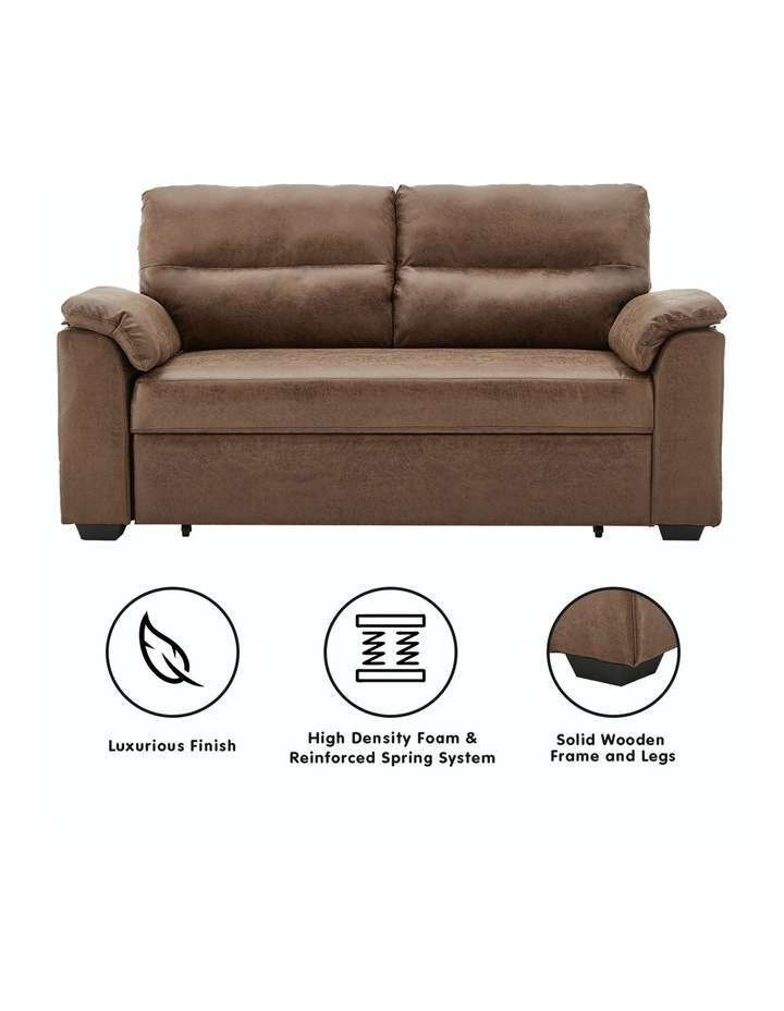 2 Seater Sofa Bed Lounge Futon Couch Modular Furniture Home Faux Velvet Fabric Brown image 2