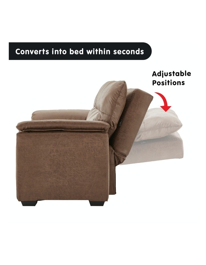 2 Seater Sofa Bed Lounge Futon Couch Modular Furniture Home Faux Velvet Fabric Brown image 3