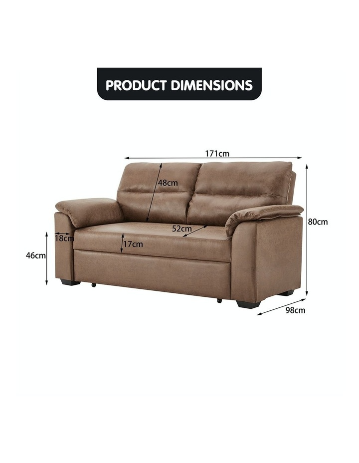 2 Seater Sofa Bed Lounge Futon Couch Modular Furniture Home Faux Velvet Fabric Brown image 7