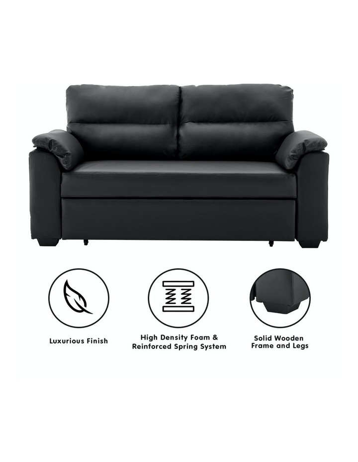 2 Seater Sofa Bed Lounge Futon Couch Modular Furniture Home Faux Velvet Fabric Black image 2